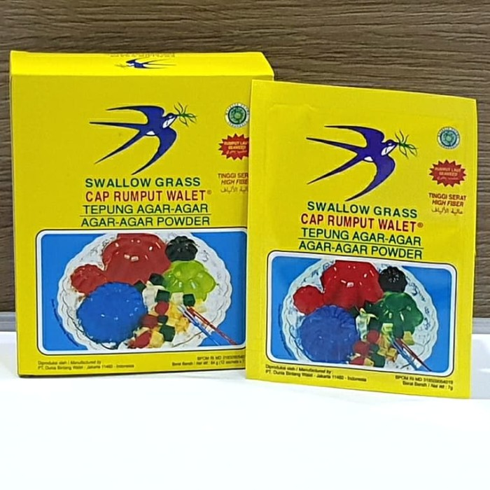 Foto Produk [1box isi 12sachet] Agar Swallow Grass Bening / PLAIN 7gr dari Aimee Bag & Plush Toys