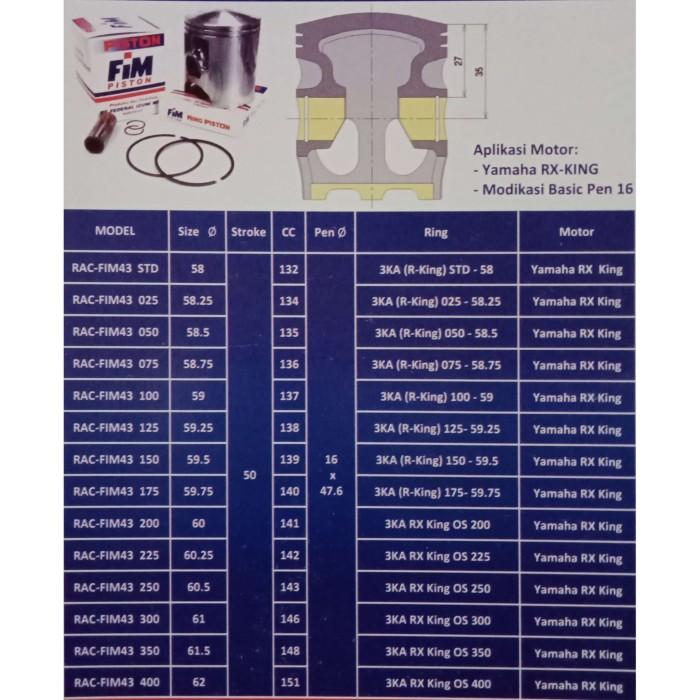 Jual Piston Motor Fim 43 Yamaha Rx King Diameter 58 00 Kota Padang Beringin Motor Tokopedia