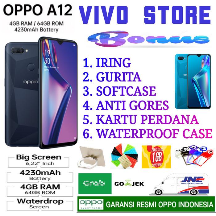 Foto Produk OPPO A12 RAM 4/64 GB GARANSI RESMI OPPO INDONESIA - hitam no bonus dari VIVO ST0RE