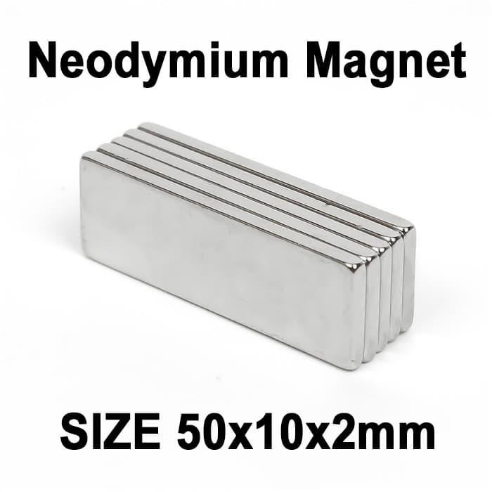 Foto Produk Magnet Super Neodymium Kepingan persegi kotak NdFeB 50 x 10 x 2 mm dari Kiddies World