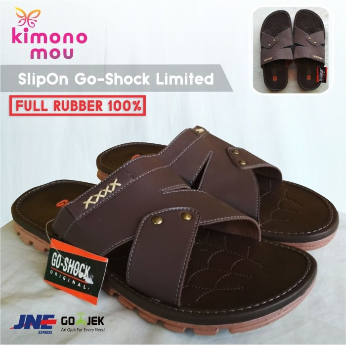 Foto Produk Sandal Sendal Pria Kulit - SlipOn Slop GoShock Limited - New Elegant - 39 dari Kimono Mou