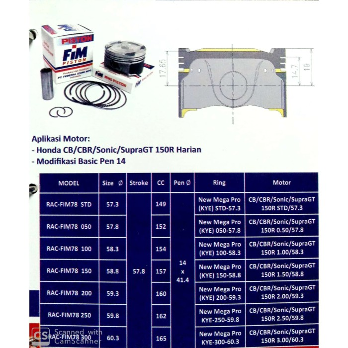 Jual Piston Motor Fim 78 Honda Cb Cbr Sonic Supra Gt 150r Harian Diameter 57 30 Kota Padang Beringin Motor Tokopedia