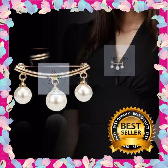 Foto Produk Pin Bross Tiga Mutiara Pearl Charming Premium Quality Best Seller! - SILVER dari SS TheGoodStuff