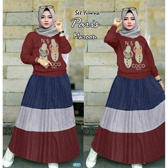 Foto Produk Baju Setelan Muslim Wanita - Setelan Yumna paris maroon dari Topi Apik