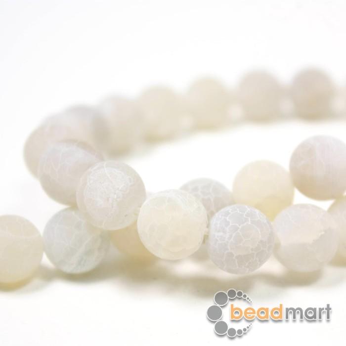 Foto Produk Manik Batu Alam Frosted White,1 Renteng, Bahan Aksesoris - 8mm dari Beadmart