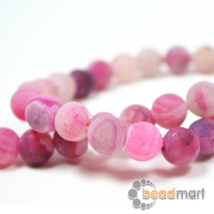 Foto Produk Manik Batu Alam Frosted Agate Pink, 1 Renteng, Bahan Aksesoris - 8mm dari Beadmart