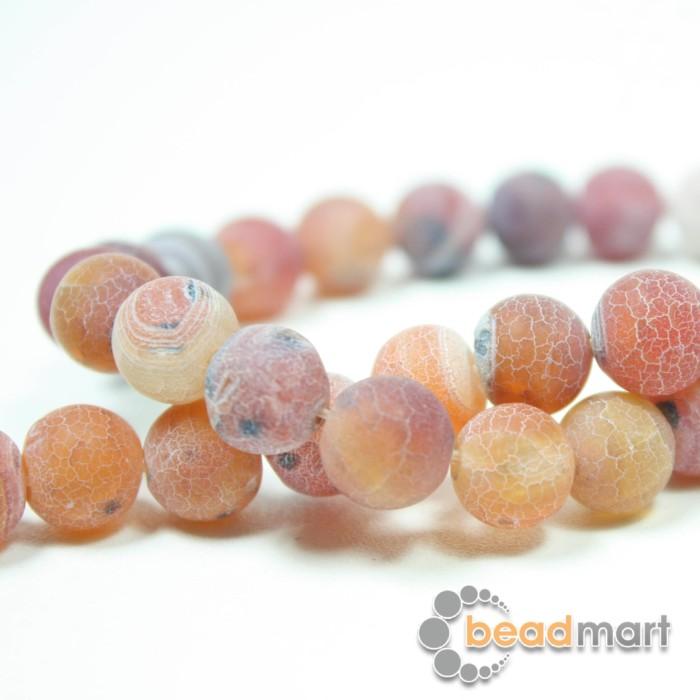Foto Produk Manik Batu Alam Frosted Agate Red, 1 Renteng, Bahan Aksesoris - 8mm dari Beadmart