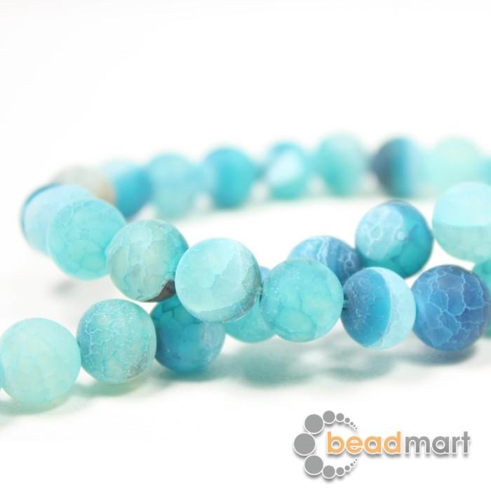Foto Produk Manik Batu Alam Frosted Agate Blue,1 Renteng, Bahan Aksesoris - 8mm dari Beadmart