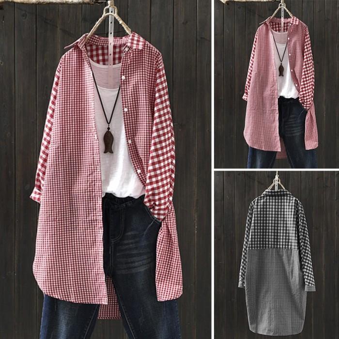 Foto Produk Womens Plaid Long Sleeve Button Down Plus size Blouse dari Betterhoney