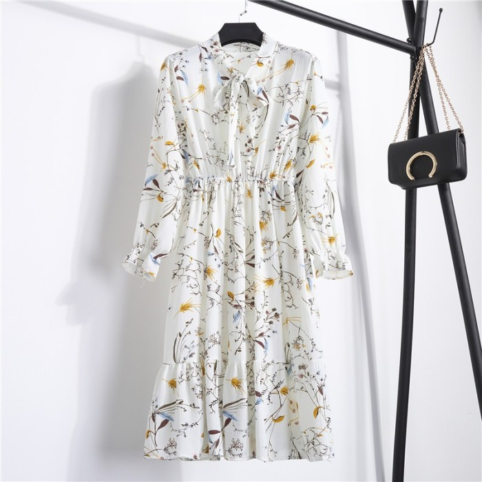 Jual Spring Autumn Women S Chiffon Dresses Floral Printing Long Sleeve Kab Malang Altha Go Shop Tokopedia