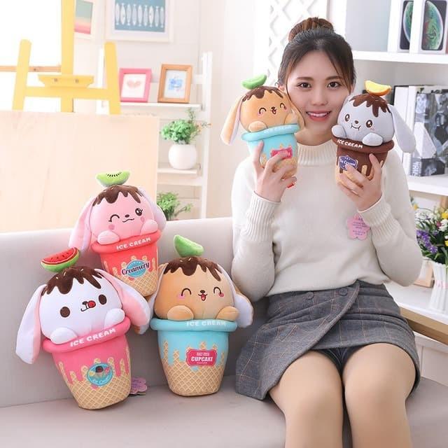 Foto Produk Boneka Ice Cream Cupcake Lucu Plush doll soft Import - Putih dari Happy Fun Olshop