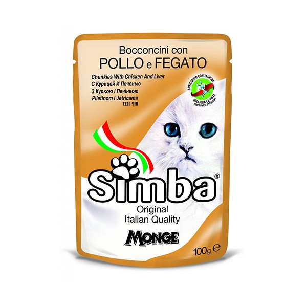 Foto Produk monge simba 100 gr chunkies with chicken and liver dari F.J. Pet Shop