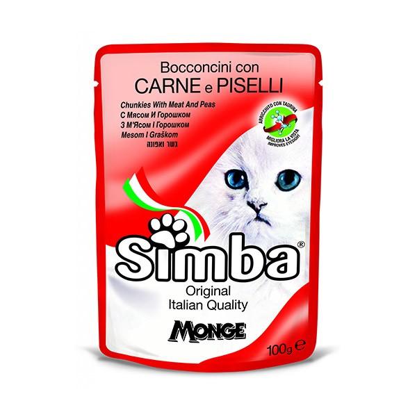 Foto Produk monge simba 100 gr chunkies with meat and peas dari F.J. Pet Shop