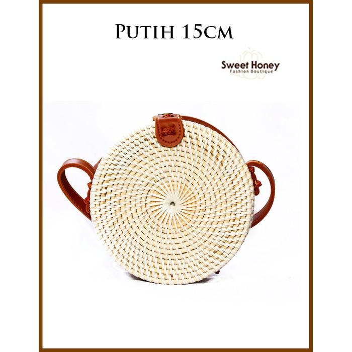 Foto Produk Tas Rotan Bali Bulat 20cm Putih Polos / FLower Tali Coklat / Putih - Putih 15cm dari The Ziel City