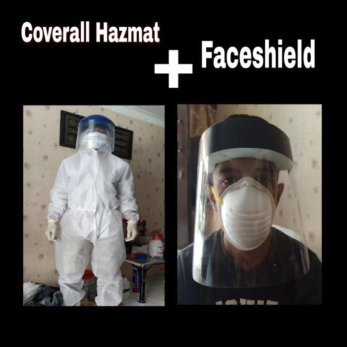Foto Produk Coverall APD Medis Hazmat + Faceshield Murah dari sahiya safety Indonesia