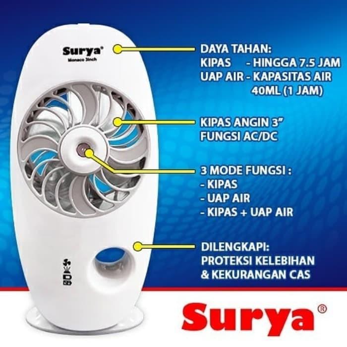 Promo Surya Monaco Kipas Angin Mini 3+ Rechargeable Micro ...