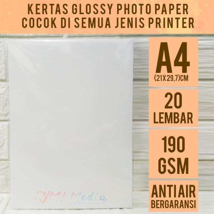 Foto Produk Kertas Foto Glossy 190 gsm A4 isi 20 / Photo Paper 190 gram SINGLESIDE dari RYM! Family