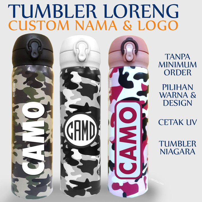 Foto Produk Tumbler Termos Botol Minum Promosi Motif LORENG Cetak Custom Logo Nama dari Labelku