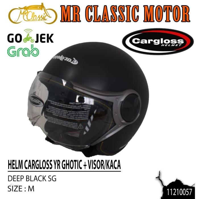 Foto Produk Helm Cargloss YRHC Plus Visor/Kaca Deep Black SG M dari Mr. Classic Motor