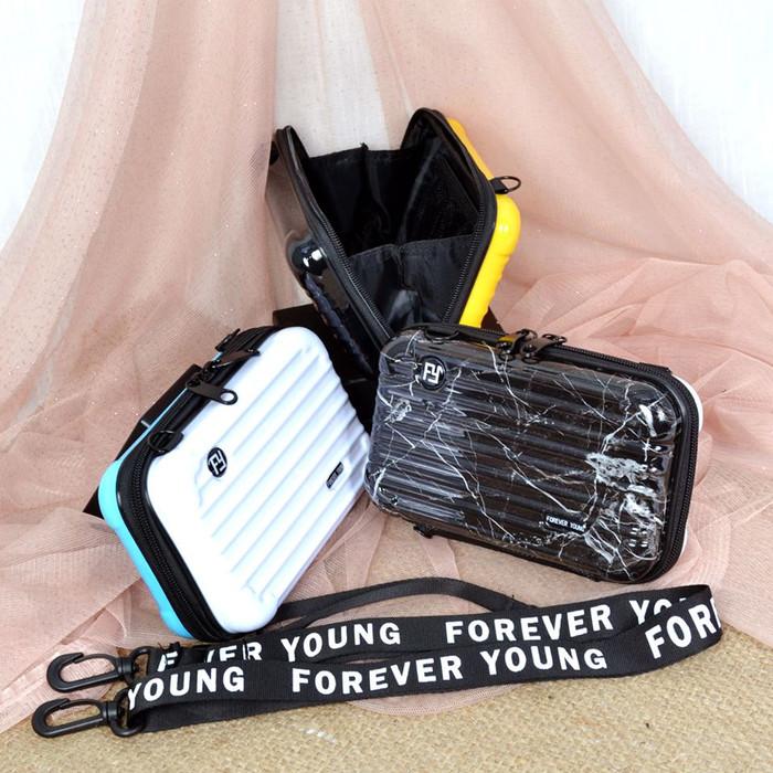 Foto Produk Tas Selempang Mini koper 2warna bolak balik FY import 5006-A/ 9119 - putih hitammrbl dari Taskiplingckanello