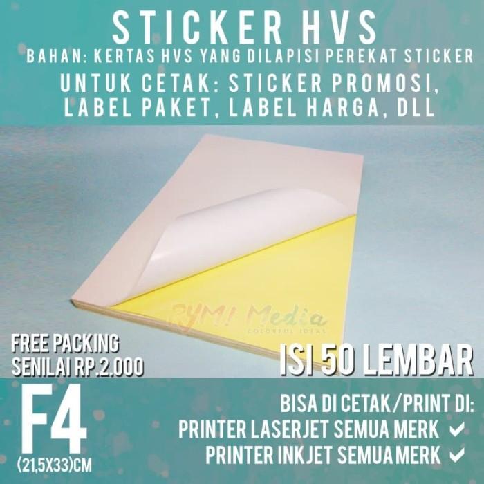Foto Produk Sticker HVS F4 isi 50 Lembar / Kertas Stiker Inkjet Doff Matte Folio dari RYM! Family