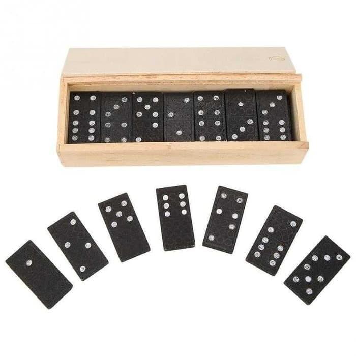 Jual Mainan Kartu domino Kayu Gaple Wood Box Domino Game ...