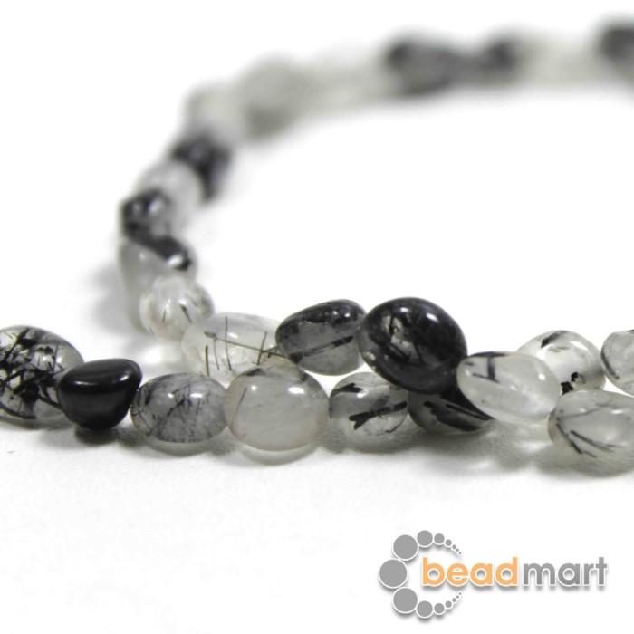 Foto Produk Manik Batu Alam Black Rutilated Pebble,6-7mm,1Renteng, Bahan Aksesoris dari Beadmart