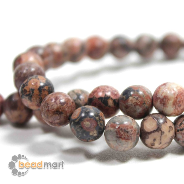 Foto Produk Manik Batu Alam, Leopard Skin, 1 Renteng, Bahan Aksesoris - 8mm dari Beadmart