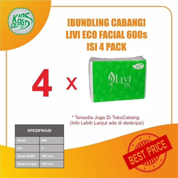 Foto Produk [BUNDLING CABANG] Tissue LIVI ECO Facial Refill 600s isi 4Pack dari KiosCepat
