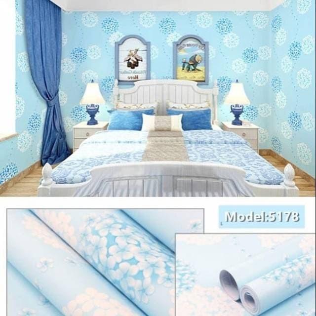 Jual Wallpaper Dinding Motif Sakura Biru Jakarta Barat Adi Acessories Tokopedia