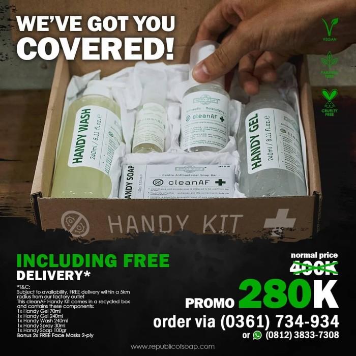 Foto Produk Handy Gel Sanitizer Handy Kit Hand Hash Wash Spray Soap cleanAF Promo dari Republic of Soap