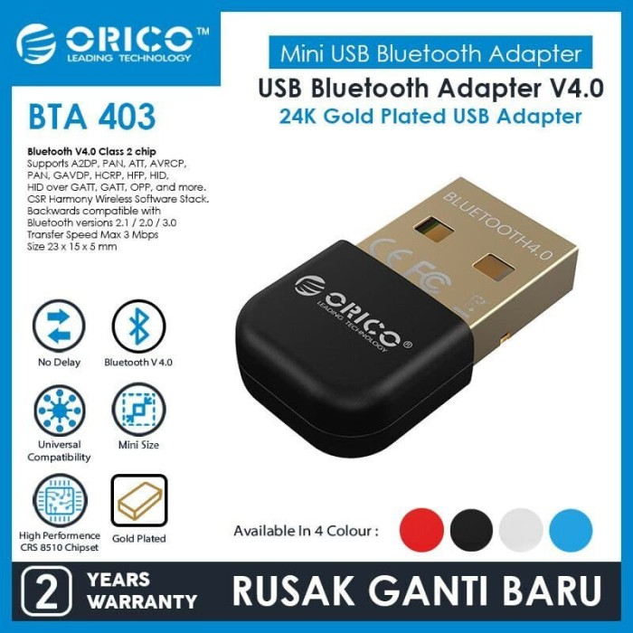 Foto Produk ORICO BTA-403 USB Bluetooth Adapter 4.0 - BLACK dari ORICO INDONESIA