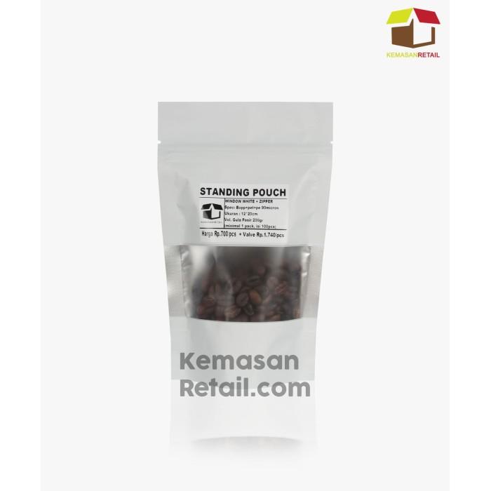 Foto Produk Kemasan Standing Pouch Window White+Zipper 12x20cm (Premium), 200g dari Kemasan JG