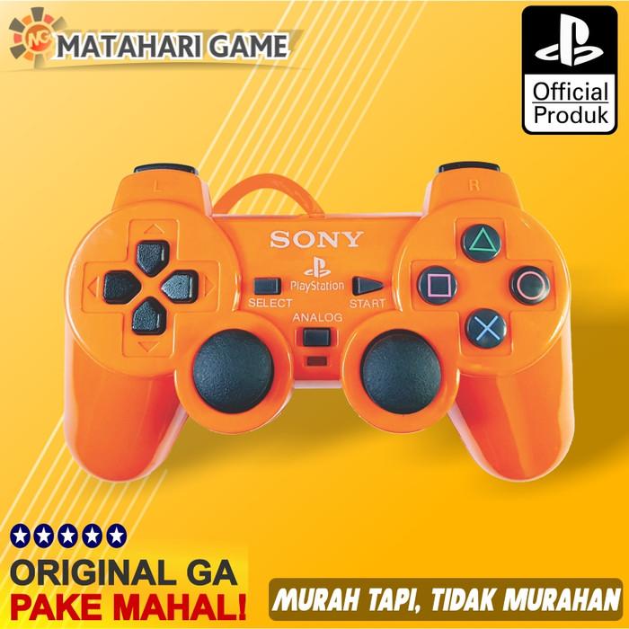 Foto Produk Stik Stick PS2 Kabel Serat Sony Semi-Ori Dualshock Getar- Best Quality - Orange dari MatahariGame