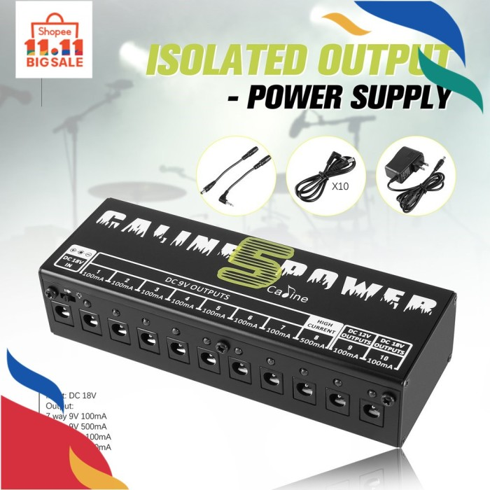 Foto Produk Ports, Guitar FY* Caline CP-05 Power Supply 10 Port Isolator Output dari UNAQO