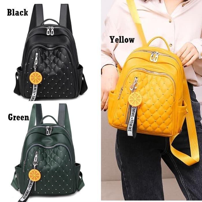 Foto Produk Backpack Tas Ransel Punggung Wanita Quilted Gantungan Lemon Baru E6007 dari Gudang Distributor Murah