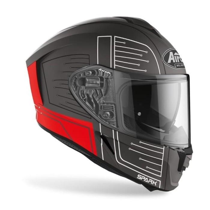 Foto Produk Airoh SPARK CYRCUIT Red Matt Double Visor Free Pinlock dari Juragan Helm ID