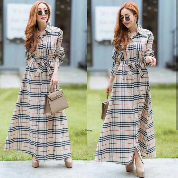 Foto Produk Dress Maxi Gamis Motif Burberry Panjang Kotak Salur Style Korea GB dari Nice Pomade