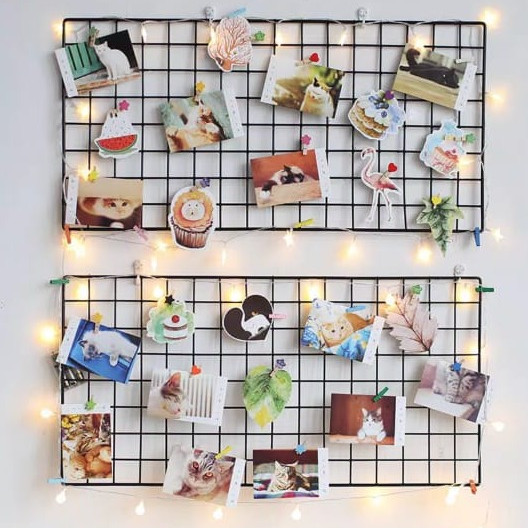 Foto Produk Hijang 52x35 cm Wire Mesh Grid Wall Hiasan Dinding Memo Foto Organizer - Hitam dari Chowping Store