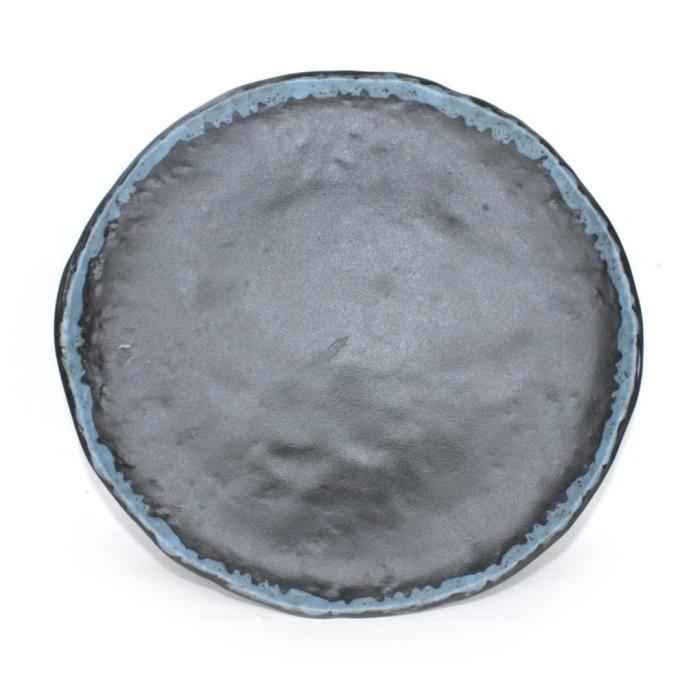 Foto Produk Artisan Ceramic | Black Stamp Blue Oyster Side Plate | Piring Keramik dari Artisan Ceramic