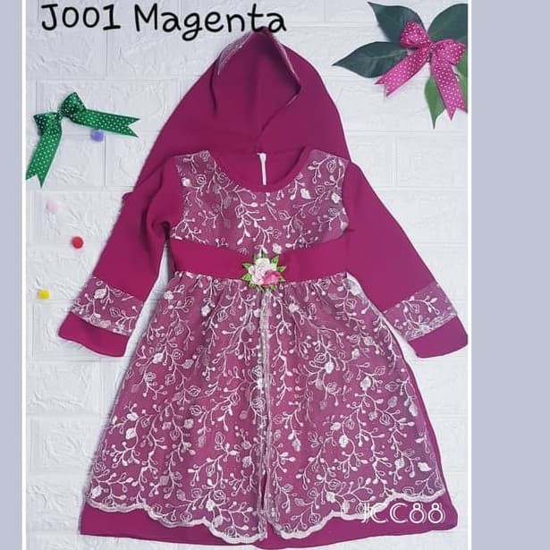 Foto Produk Gamis baby brukat 0 - 1 tahun, lengkap dengan jilbab - Merah dari JCC88