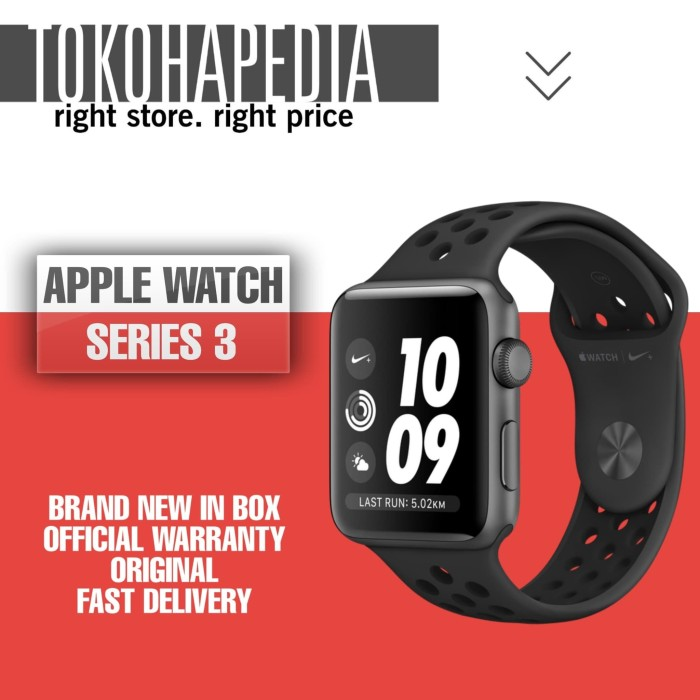 Foto Produk Apple Watch / iWatch Series 3 Nike+ 42mm Black Antrachite Sport Band dari tokohapedia