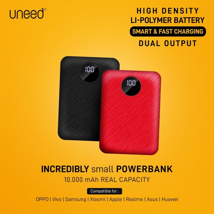 Foto Produk UNEED CompactBox L10 Powerbank 10000mAH with LED Display - UPB405 - BLACK dari Uneed Indonesia
