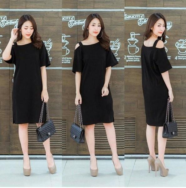 Jual f2sq 287 dress one shoulder hitam sabrina tali sexy rok pendek simple  - Kota Bandung - zianstore77 | Tokopedia