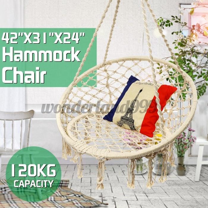Jual Outdoor Mesh Hanging Rope Swing Hammock Chair Home Garden Porch Jakarta Barat Reyra Tokopedia