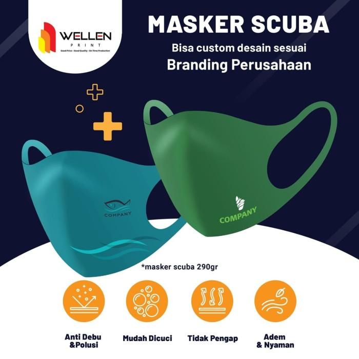 Jual Cetak / Print Masker Scuba Custom Logo / Nama