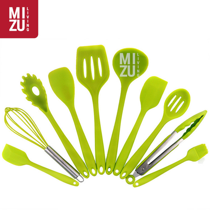 Foto Produk DIECI 10 in 1 SET Silicone Kitchen Utensil Spatula Cooking BPA-Free - Hijau dari MIZU Living