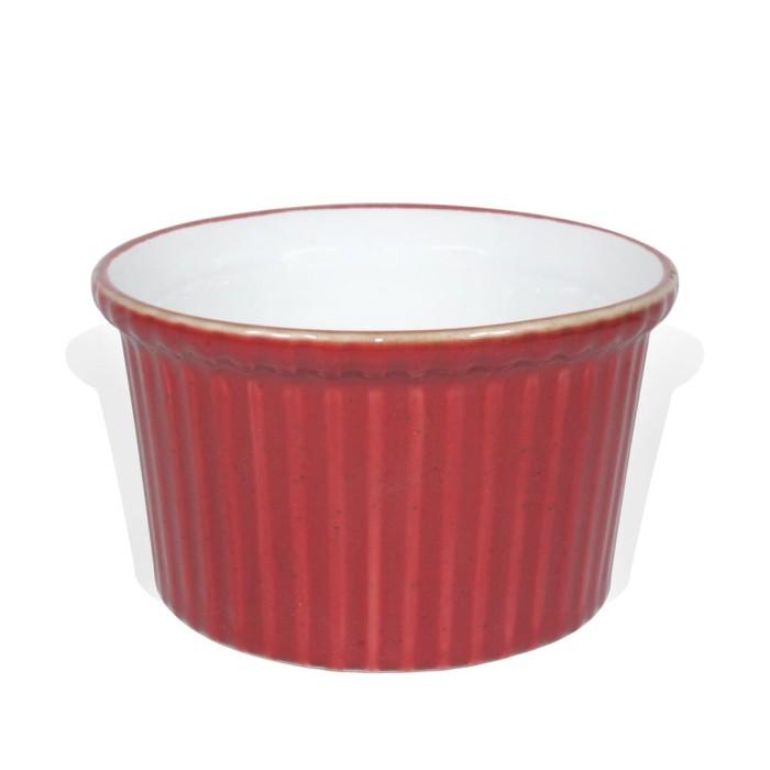 Foto Produk Artisan Ceramic   White Red Glossy Souffle XL   Mangkok Kecil Keramik dari Artisan Ceramic