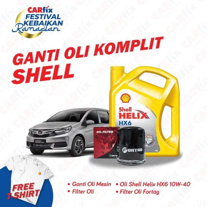 Foto Produk Ganti Oli Komplit Shell HX6 Mobilio - CARfix JATENG DIY Free T-shirt dari CARfix Indonesia