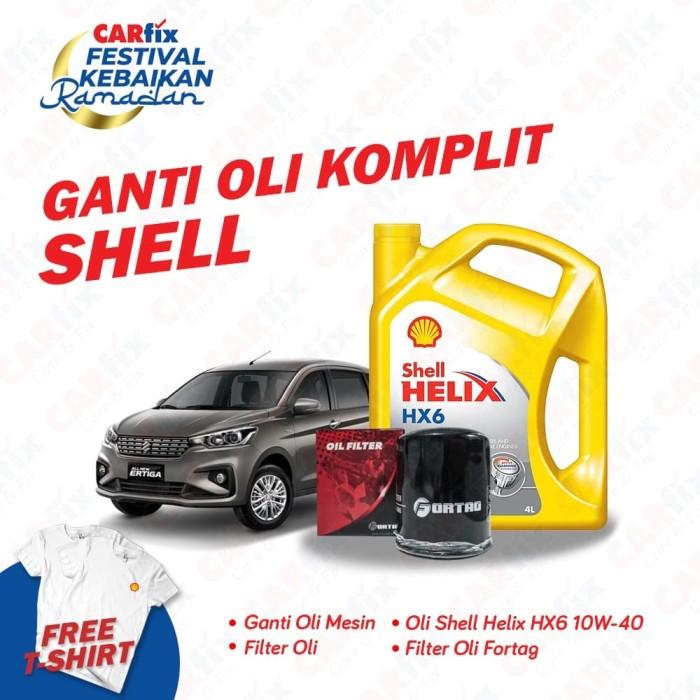 Foto Produk Ganti Oli Komplit Shell HX6 Ertiga - CARfix JATENG DIY Free T-shirt dari CARfix Indonesia